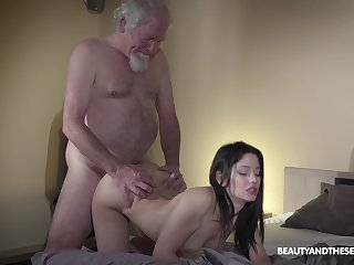 Old grey whiskered gets woken be involved a arise sex and what a X girl friend he's got