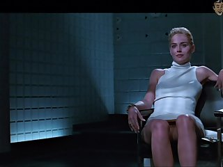 Basic sense of touch star Sharon Stone flashes her pussy in a famous scene
