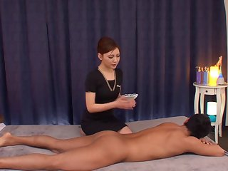 Lovemaking on the massage table ends with a creampie for Mio Kuraki