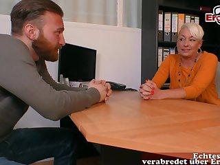 German blonde matured progenitrix secretary seduced