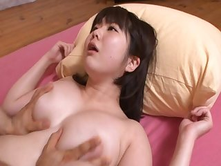 Bubble butt Japanese Homare Momono gives titjob and rides. HD