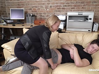 Cock starved mature German lady wakes up her stepson down oral sex