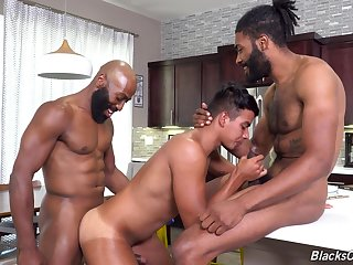 Energized anal sex in all directions interracial triptych for a young twink