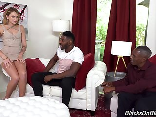 Anal nearly two black dudes after she strips and sucks their monsters