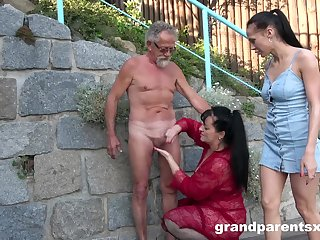 Old person roughly fucks these bitches in public XXX scenes