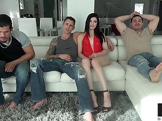 Long Legged Beauty Sadie Blake Takes On Three Big Dicks