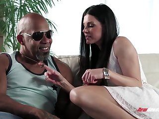 White milf India Summer sucks big black dick and gets her pussy stretched