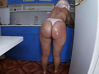 Mom lave the dishes in the kitchen added to took the stepson's penis in her hand added to inserted well-found into her anal