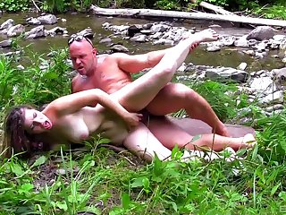 Foxy babe Alexandra drops beyond her knees to suck together with ride in completed
