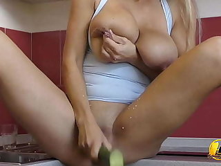 Busty MILF Milking with the addition of Masturbate with Cucumber