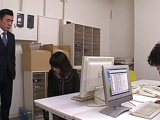 Asian office woman is feeling horny and obedient