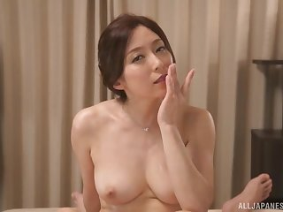 Asian mom rides cock in turn-about during massage innings