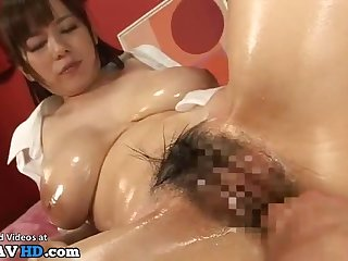 Japanese big-breasted hairy babe amazing melons screw