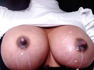 I filmed my become man squeezing their way milky tits