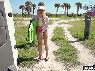 Sweet blonde babe Anastasia Manful enjoys having sex encircling a stranger