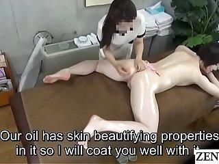 Pale Japanese milf prone oil palpate upon Subtitles