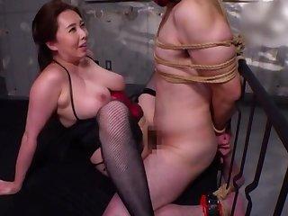 BDSM fetish photograph on touching femdom by Kazama Yumi over their way husband