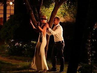 Blindfolded blonde wife Vinna gets a surprise sex session outdoors