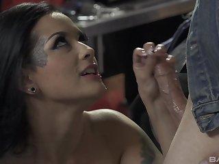 Latina whore in fishnets Katrina Jade rides hard cock in a garage