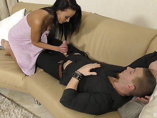 Close up blowjob, missionary fuck and facial for brunette Lexi Layo