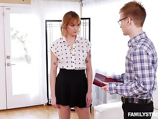 Nerdy guy gets back fuck his stepsister and that bitch is a wild thing