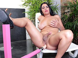 Big Tittied Hung TS Sabrina Sousa Puts a Fucking Paraphernalia to the Test