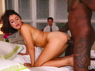 Disgraceful hunk suits wife's pussy in undaunted cuckold XXX play