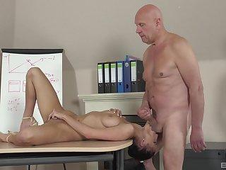 Senior man pumps young schoolgirl for better grades
