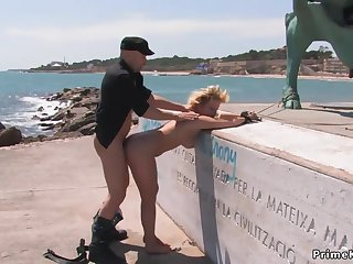Blond Hair Lady is public red in the face in underwear