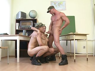 Bi-sexual anal threesome in the army