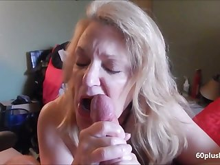 Very hot older son making cum dick beside the brush tongue