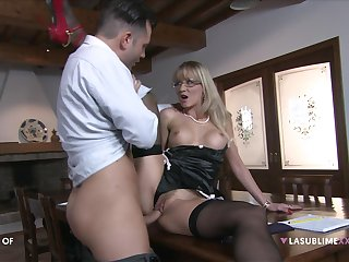 Blonde mature fucks on a directorship with respect to her own step son